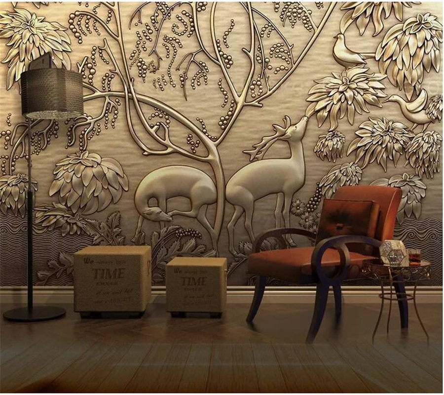 wellyu  Custom wallpaper papel de parede European 3D three-dimensional golden relief forest elk bird background wall tapety beibehang new papel de parede 3d wallpaper chinese style simple wallpaper relief dream watercolor lotus lotus background tapety