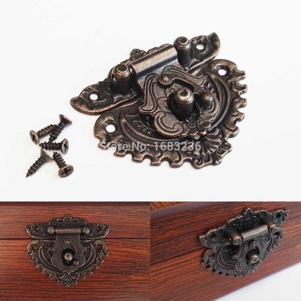 2 pçs retro bronze antigo decorativo caixa de vinho caixa de jóias caixa de madeira toggle ferrolho trava captura fecho forma do coração 55x47mm b