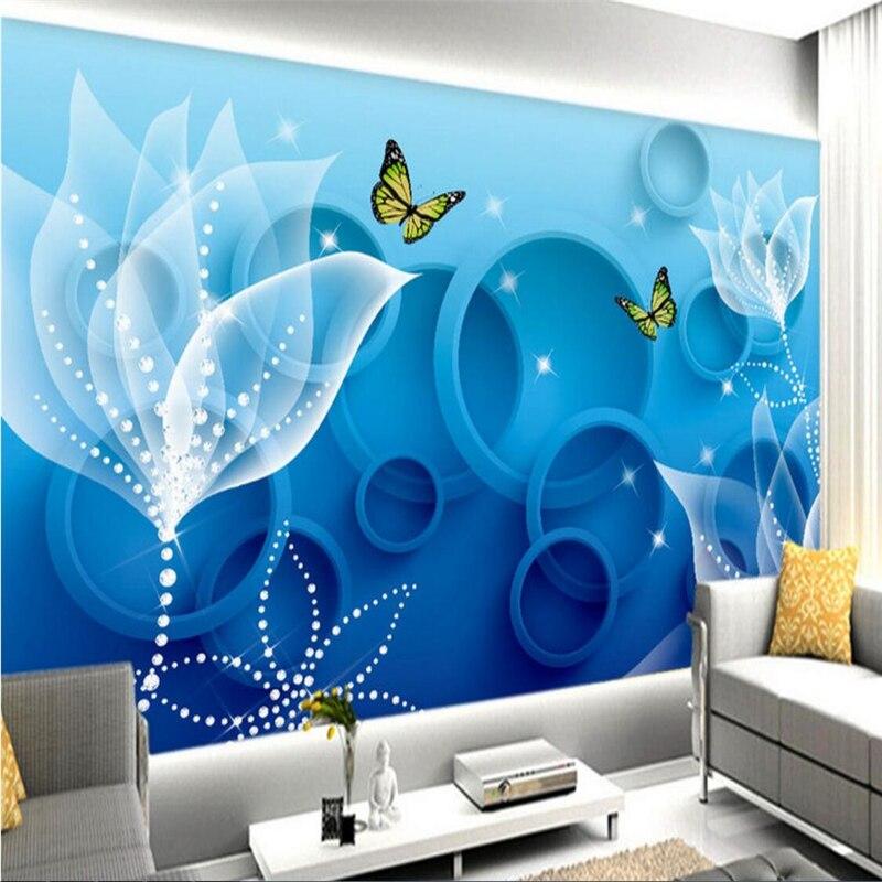 Beibehang encomenda de parede papel de parede mural de etiquetas flores contexto azul moda 3D transparente papel de parede