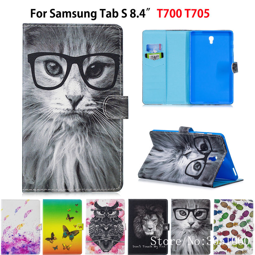 Caso funda para samsung galaxy tab s 8.4 polegada t700 t705 t705c SM-700 capa moda animal pintado tablet suporte capa pele sehll