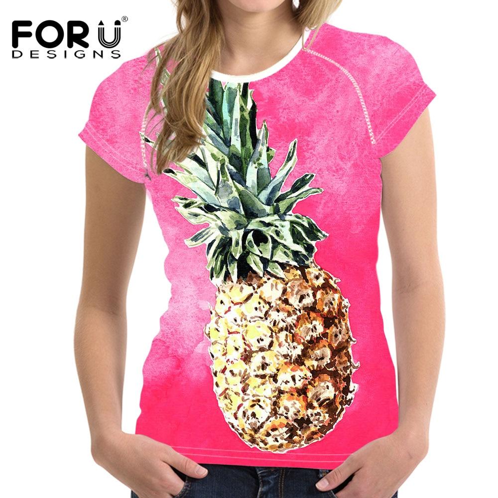 FOURDEIGNS, Camiseta con estampado rosa de piña para mujer, Harajuku Ulzzang Tumblr, camiseta Casual, Tops, ropa femenina, Tops, camisa femenina