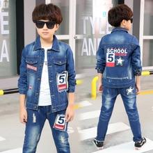 Boys Denim Jacket & Boys Jeans 2pcs Clothing Set Boy Coat Pants for 4 5 6 7 8 9 10 12 Years Old 2020 Kid Boys Clothes RKS185005
