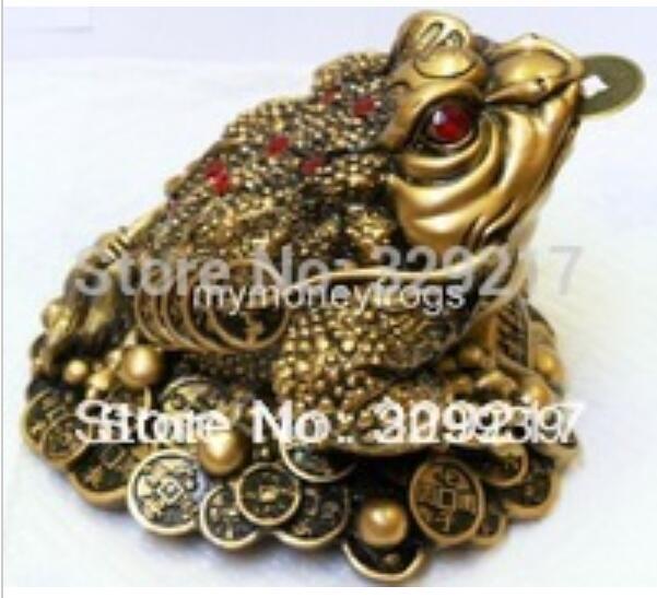 Envío Gratis wang67110227 + + + 0044 nueva suerte Oriental riqueza grande latón Feng Shui dinero chino Rana moneda # L2