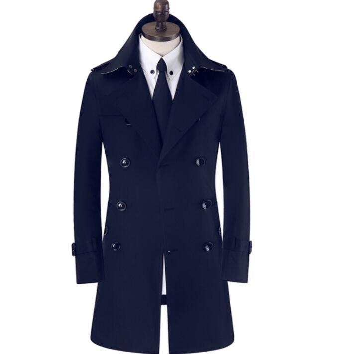 ¡Nuevo diseño! gabardina de doble botonadura para hombre, gabardina larga entallada de manga larga caqui Negro Azul beige 778662