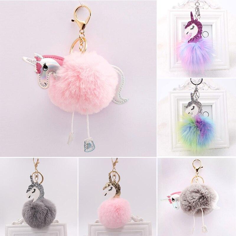Lovely unicorn stuff toys anime soft toy cute plush hanging toys stuffed animals unicorn Key ring Pendant kids key chains gift