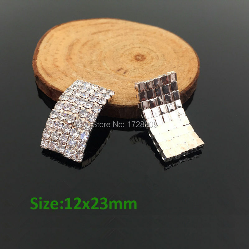 Arco de Arte de uñas cristal completo Rhinestone Cambered Arc botón embellecedor 10 piezas 12*23 MM scrapbooking lazo de pelo para niña centro