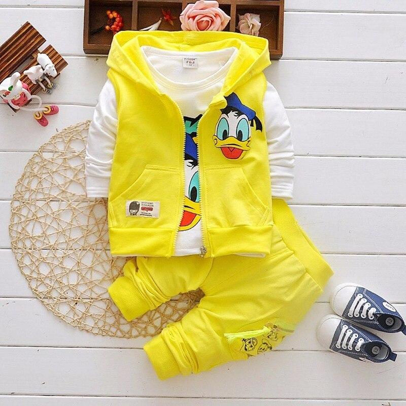 Boys Clothing Sets Children Fashion Donald Duck Baby boy T-shirt Vest Coat And Pants Suit 3pcs Outfits Mickey Kids Sport Suit