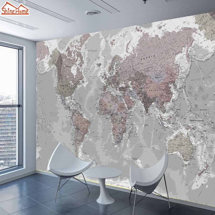 Shinehome-papel de parede foto personalizada 3d, papel de parede mural para sala de estar, decoração casa, mundo, mapa, pintura, sofá, tv fundo de fundo