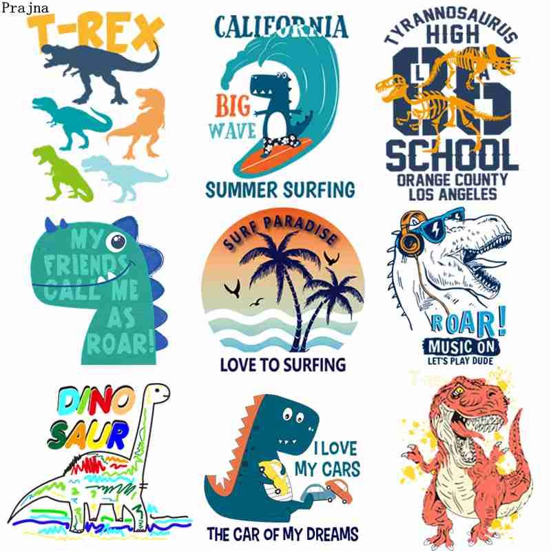 Prajna Parque Jurásico transferencias de calor dibujos animados dinosaurio T-REX transferencia térmica pegatinas en la ropa DIY para niños camisetas Decoración
