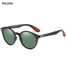 RALIZHE 2019 Fashion Round Retro Polarized Sunglasses Vintage Polished Black Green Sun Glasses For Driving Mens Women UV400 TR90
