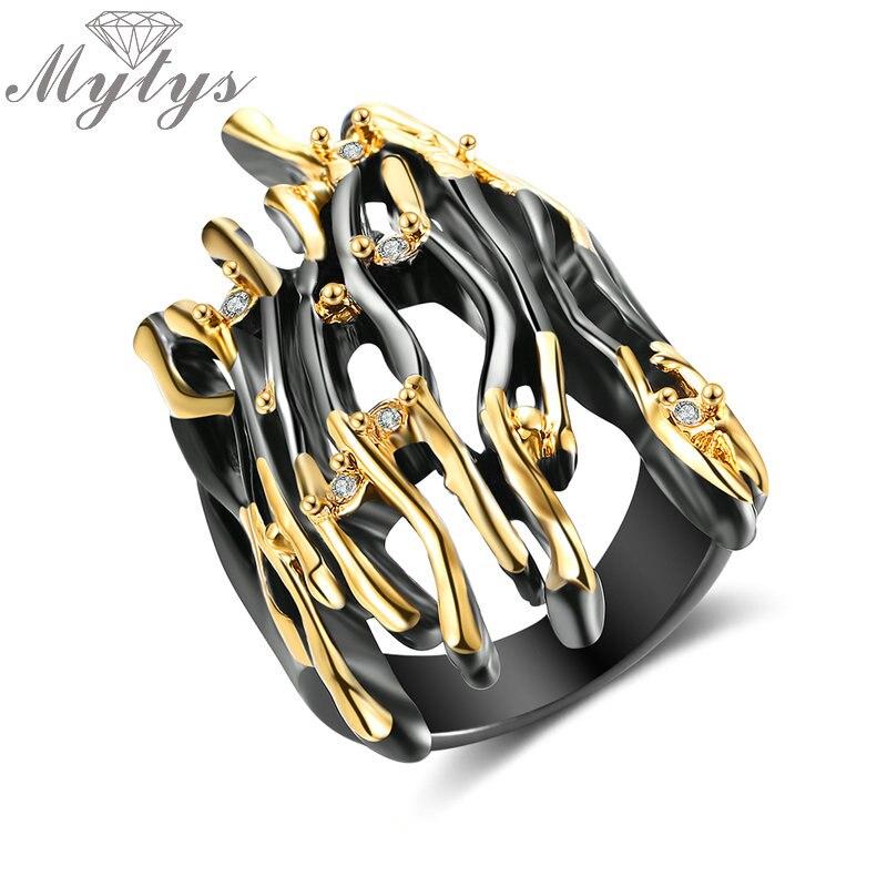 Кольцо Mytys, с геометрическим узором, полупальцевое, черное, желтое, золотое, двухцветное, панк кольцо, большие кольца, ювелирные изделия R2008