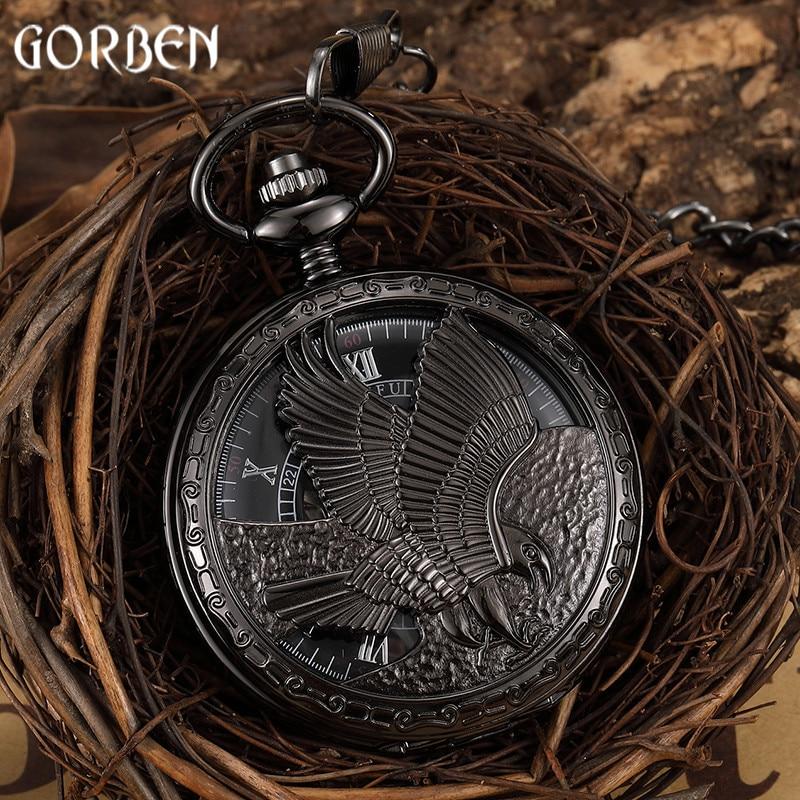 Reloj de pulsera con diseño de águila negra y viento Reloj de bolsillo mecánico para hombre