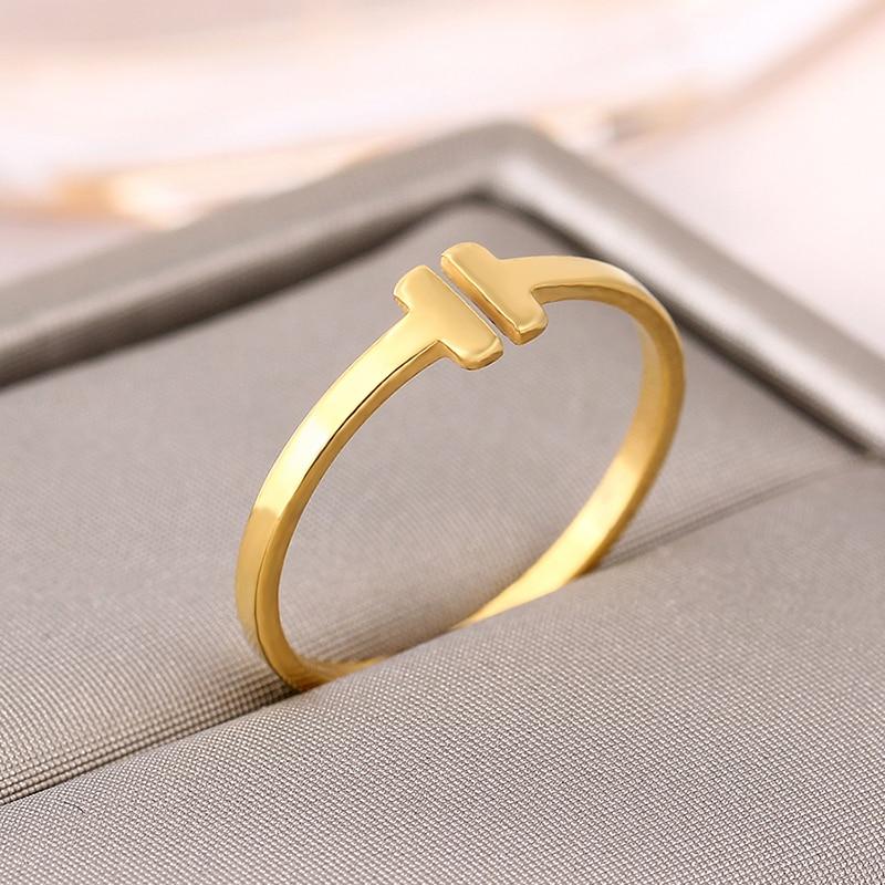 Anillo de moda marca Italina Rigant Real 14KGP letra de apertura en forma de T anillo de oro joyería