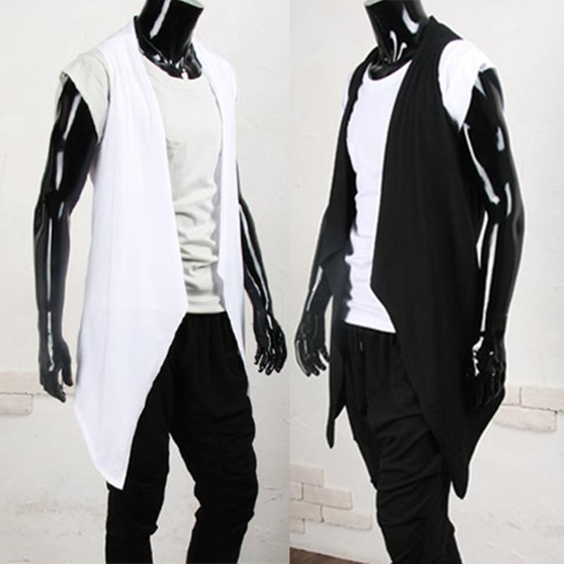 2018 moda masculina punk rock hip hop colete longo boate palco gilet traje masculino estilo coreano fino ajuste sem mangas jaqueta chalecos