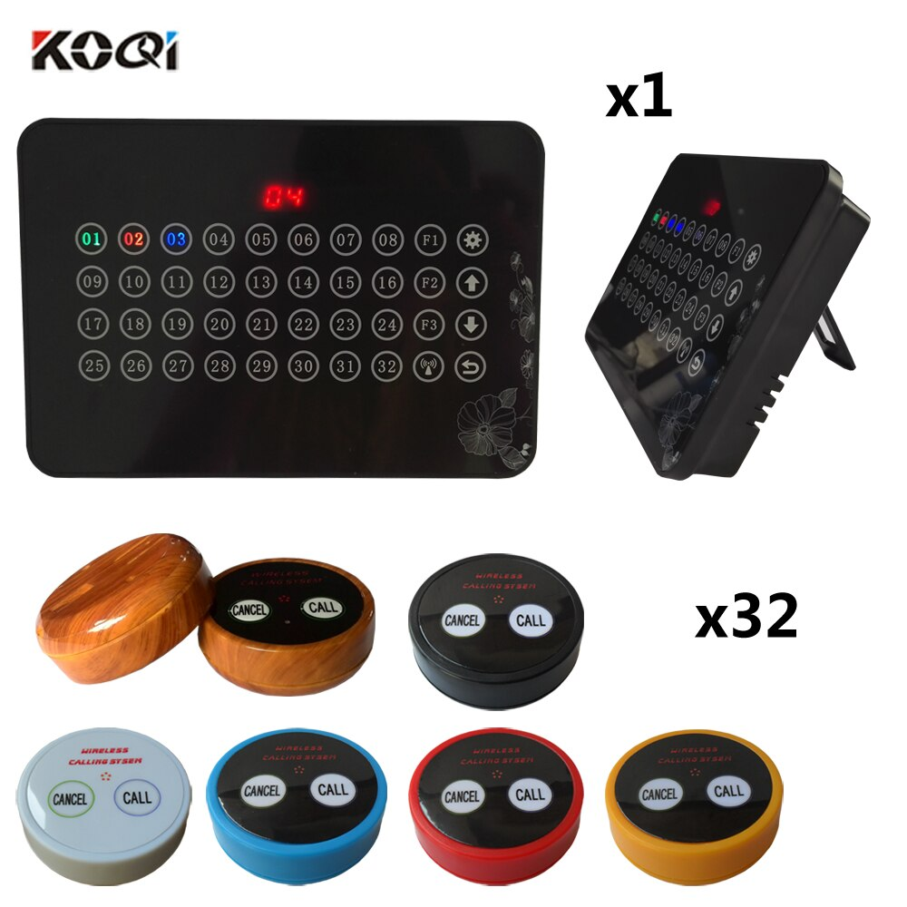 Restaurant Wireless Service Call System Koqi Factory Ycall 433.92MHZ Wireless Electronic Voting Pager(1 display+32 call button)