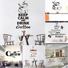 Stickers muraux Vinyls café grande taille   Papier peint de décoration de fenêtre pour café, accessoires de cuisine, autocollants muraux