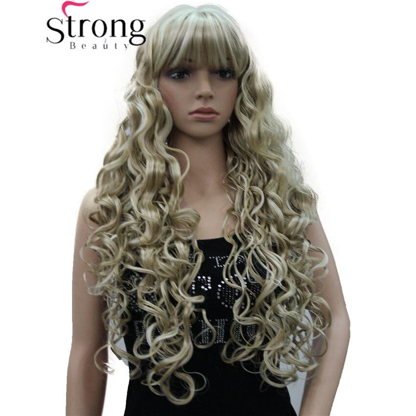 StrongBeauty, peluca larga gruesa ondulada negra, marrón, rubia resaltada, pelucas para mujeres