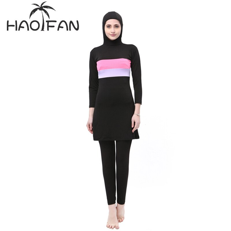 Muslimah HAOFAN Mulheres Stripe Impresso Swimwear Muçulmano Hijab Islâmico Plus Size Maiô de Natação Surf Wear Esporte Burkinis 5XL