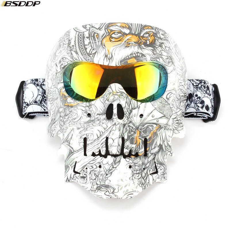 Motorcycle Glasses Biker Helmet Face Mask Vintage Detachable Modular Skull Mask Moto Goggles Mouth Filter Motocross Glasses enlarge