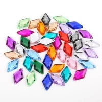 100pcs 1018mm glitter crysta sew on rhombus acrylic rhinestone flatback colorful sewing beads for diy wedding dress 18 colors