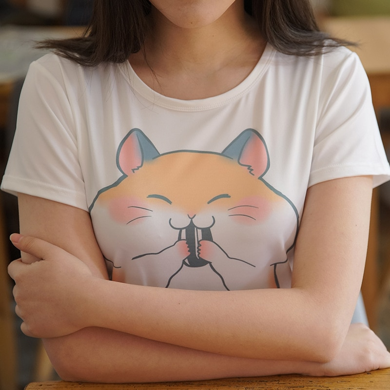 Camiseta de manga corta de verano para mujer, camiseta bonita con dibujos de hámster