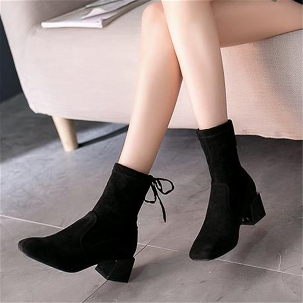 High heel ankle boots for women fall winter shoes for Women's short tube autumn 2018 new style Briton with thick heel boots