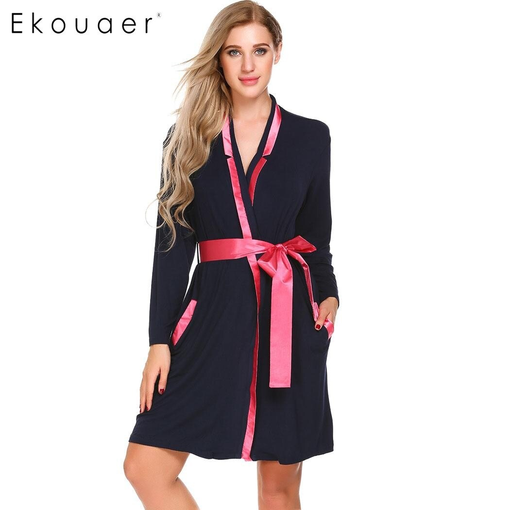 Ekouaer elegante bata Kimono moda mujer manga larga bolsillos Patchwork ropa de dormir Albornoz Otoño Invierno Casual Robe con cinturón