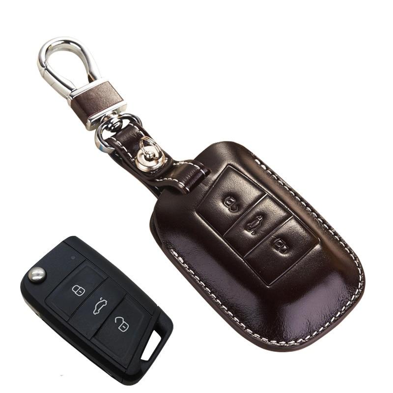 NAN ZI HAN carcasa para mando a distancia de cuero para Skoda 2016 superb Combi 2017 Kodiaq para asientos Ateca accesorios, llave estuche protector Accesorios