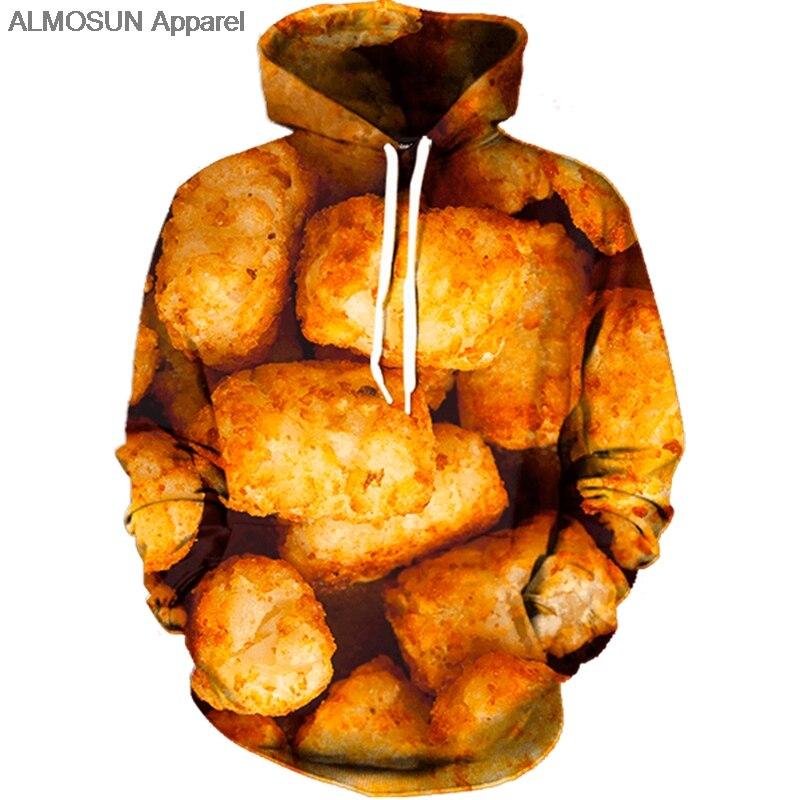 ALMOSUN Tater Tots 3D todo impreso sudadera con bolsillos sudadera Hipster comida Casual ropa de calle hombres mujeres US Size