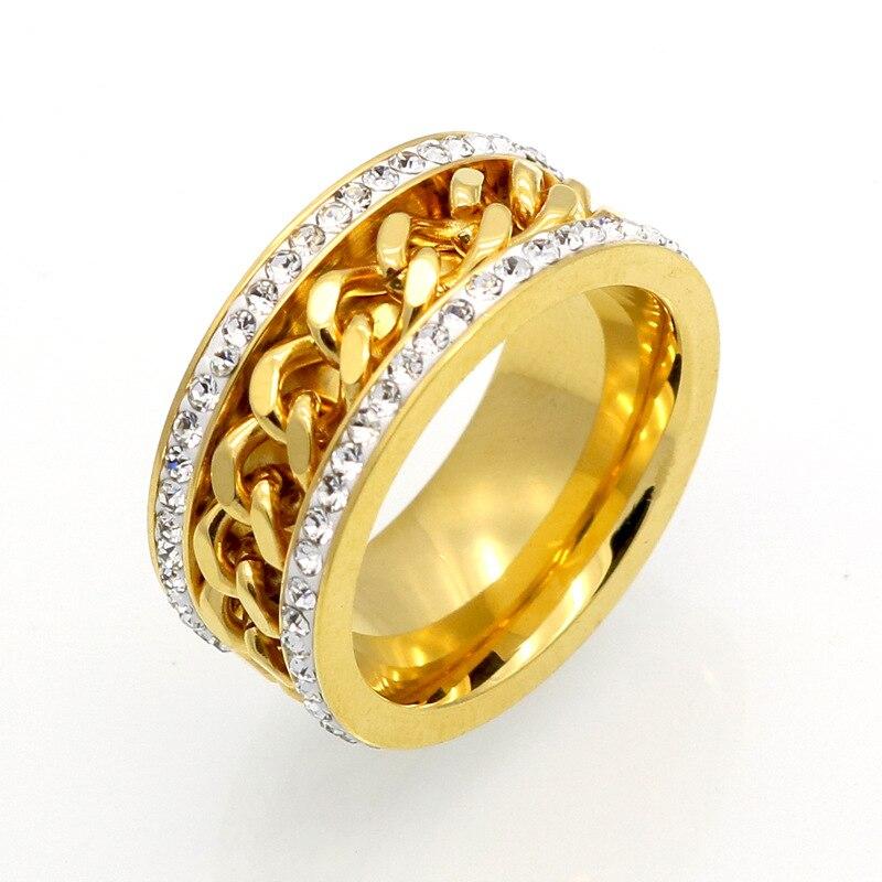 Anillos de joyería de acero inoxidable de moda de doble fila CZ anillo de cadena chapado al vacío anillos de engagment Premium para Mujeres Hombres