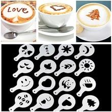 Moule à café gâteau au lait Cupcake   16 pièces, décor modèle de pochoir, Barista modèle de Cappuccino, outils de pulvérisation de tampons Strew