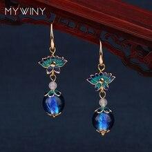MYWINY nouveaux bijoux de mode bijoux en cuivre cloisonné fleurs boucles doreilles femmes, boucles doreilles en verre de vent chinois