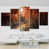 5 panel modern printed maple leaf forest painting picture cuadros decoracion paintings canvas wall art for living room unframed