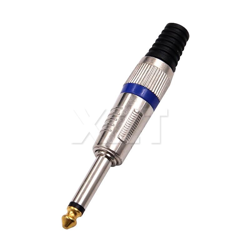 A Mais Recente 6.35 núcleo do segundo ano 6.35 amplificador mono microfone plugue de 6.35mm jack plug conector de áudio jack de 6.5mm