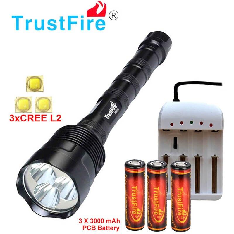 Trustfire 3 * XML L2 18650 linterna 3 ** L2 3800 LM 5 modos LED lámpara de antorcha impermeable puede usar 2x18650/3x18650 lámpara de luz