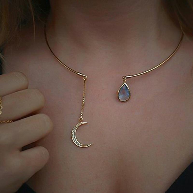Nuevo y creativo colgante de Luna, Collar con gargantilla abierta para mujer, elegante Collar con puño de cristal, Collar llamativo para fiesta, joyería de moda