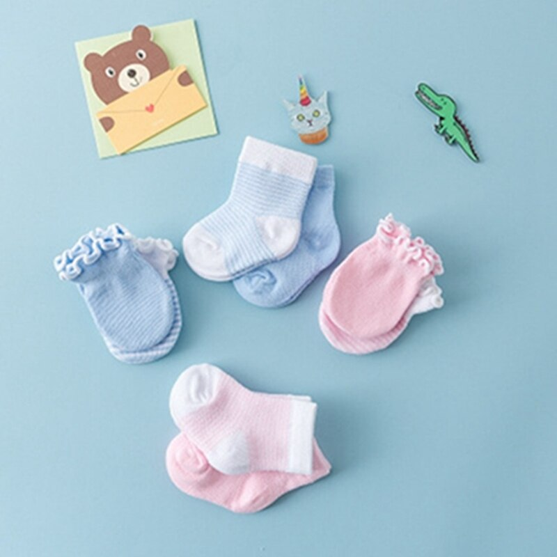 0-3 M calcetines para bebé recién nacido + cubierta de mano para bebés guantes para prevención de arañazos calcetines de algodón pelados para bebés y niñas