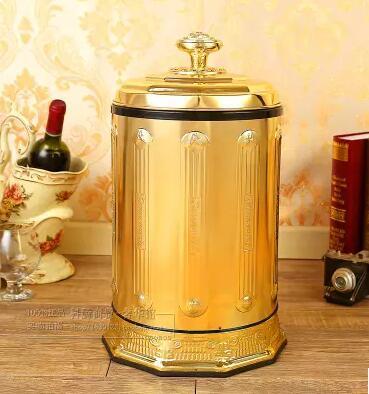 Luxury10L металлические мусорные баки из нержавеющей стали, открытые вручную мусорные баки для кухни для домашнего декора LJT008