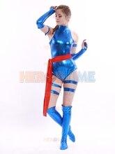 Bleu brillant femme Psylocke Ninja Costume Cosplay x-men super-héros costume le plus populaire zentai Costume livraison gratuite