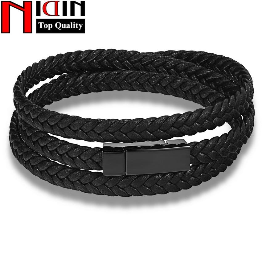 Hot Fashion Men Leather Bracelet  Wrap Weave Bracelets for Men Stainless Steel Black Magnetic Punk Cuff Charm Bangles Jewelry
