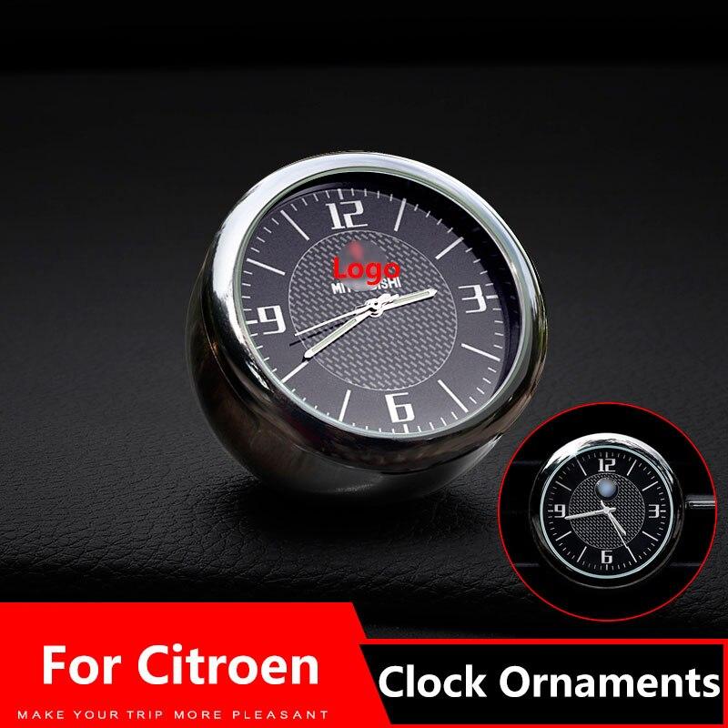 Adornos de reloj de coche salida de ventilación Clip pegatina Logo para Citroen c1 c2 c3 c4 c5 berlingo b9 xsara 1 2 DS3 DS4 DS Accesorios