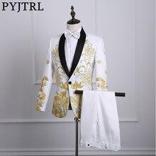 PYJTRL mâle châle revers blanc noir rouge brodé robe de bal costumes scène chanteur Costume Homme hommes costumes avec pantalon