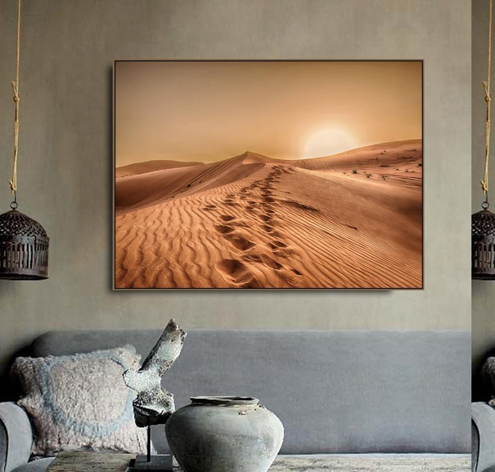 Cartel de Arte de pared para decoración del hogar con impresiones de caligrafía en lienzo de paisaje bizarro del desierto