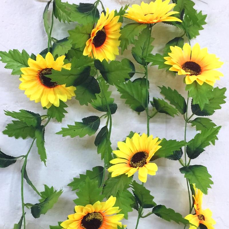 240cm מזויף משי חמניות קיסוס גפן מלאכותי פרחים עם עלים ירוקים תליית גרלנד גן גדרות בית חתונת קישוט