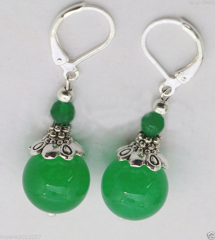 Vente chaude nouvelle-modo belle el Tíbet argent vert gema perle boucles d'oreilles...