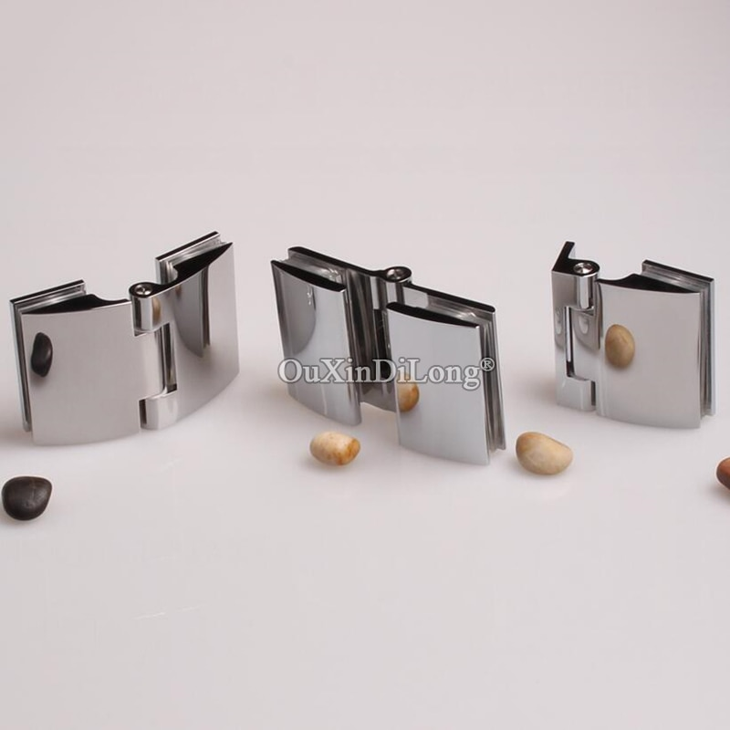 Bisagras de puerta de cristal de ducha sin marco de latón macizo de 2 uds. De alta calidad con apertura interior/exterior con acabado cromado