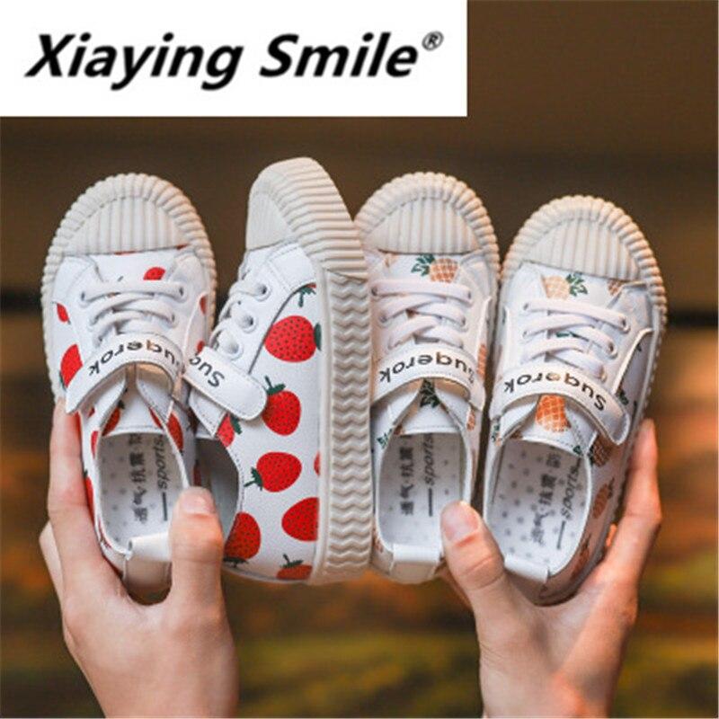 Xiaying ابتسامة الأطفال أحذية خريف 2019 جديد فتاة الفاكهة الفراولة أحذية الأناناس عصا سحرية الأزياء مريحة حذاء فاخر