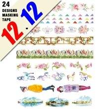 24 Designs nouveau!! Fleurs/filles/drapeaux/cheval/feuille dor motif japonais Washi adhésif décoratif bricolage papier de masquage autocollant
