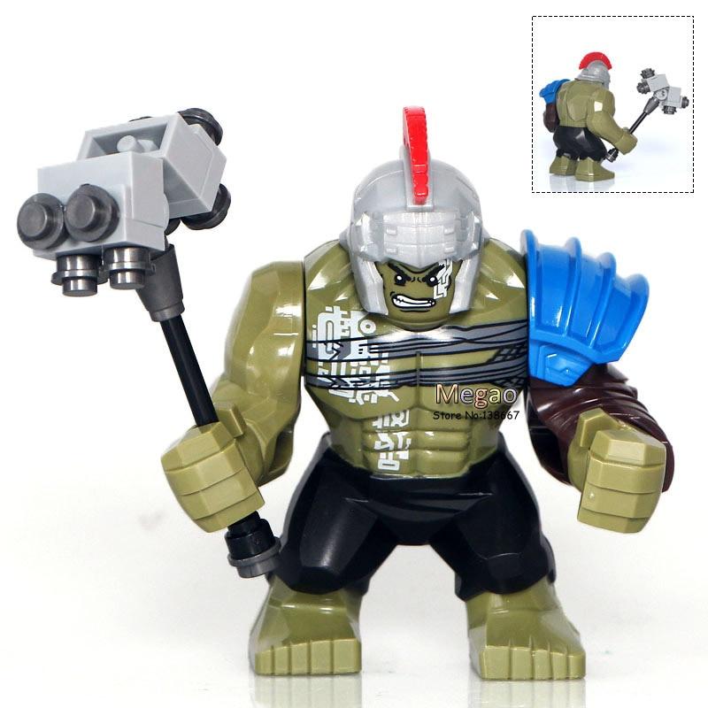 Venta única XH654 superhéroes vengadores Thor Ragnarok 76088 Hulk 7cm bloques de gran tamaño ladrillos niños regalo juguete X0165 Dropshipping
