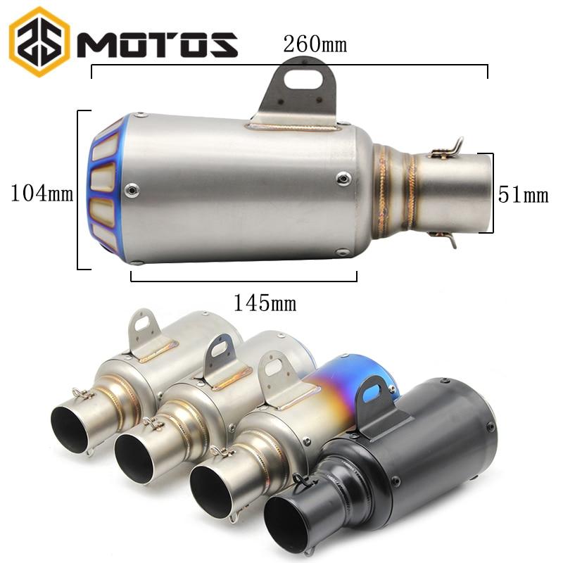 ZS MOTOS 35-51mm Escape de la motocicleta Escape de la Moto tubo silenciador Moto Escape modificado para Akrapovic MSX125 KTM
